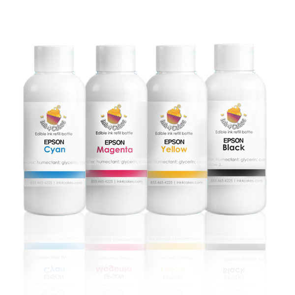 Edible ink refill for Epson - CMYK 120ml  (4oz) bottles