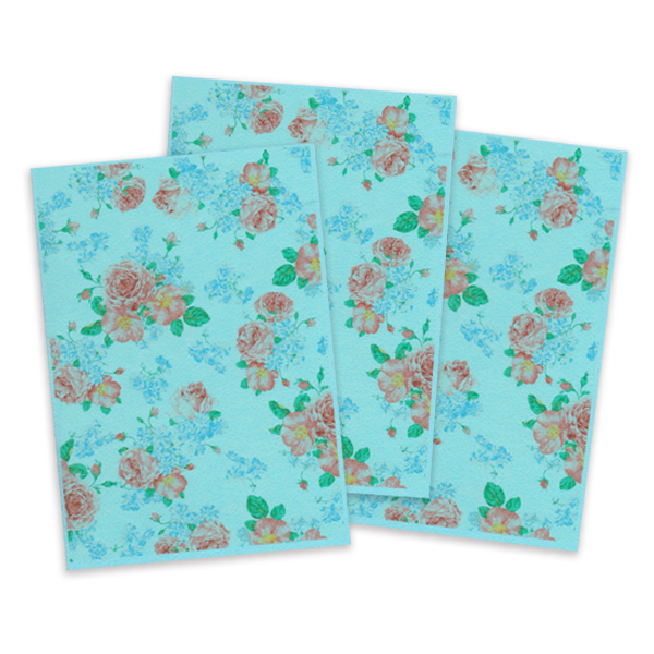 Blue Printed Edible Wafer Paper - Flower Pattern