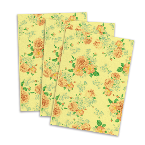 Yellow Printed Edible Wafer Paper - Flower Pattern