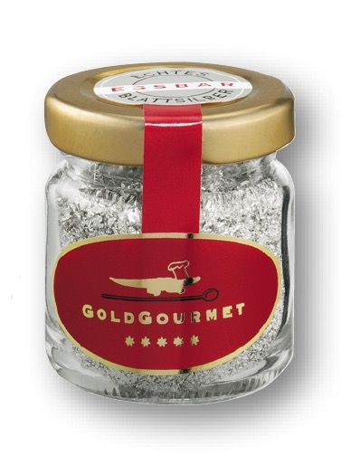 GoldGourmet - JAR of Edible Silver FLAKES - 1gram