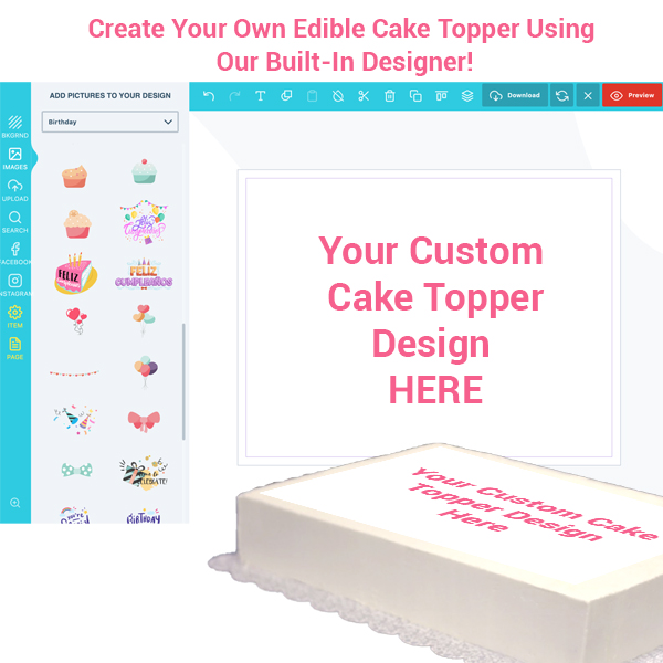Custom Cake Topper Legal Size 14x8.5 LANDSCAPE- Customize it