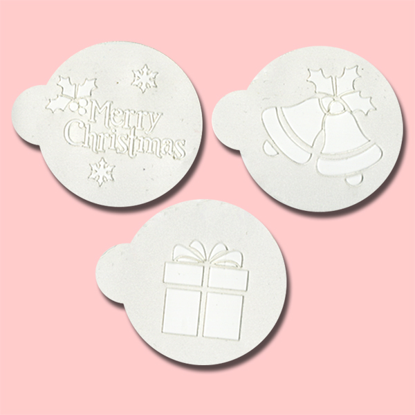 Christmas Bells, Present and Text - Bakery Decorating Stencils - 2.6