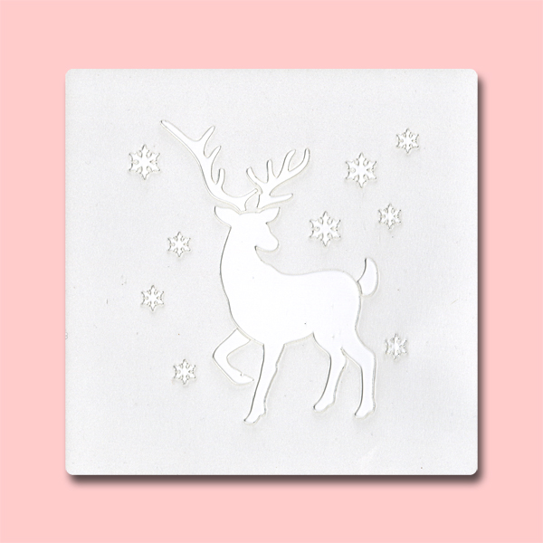 Reindeer - Bakery Decorating Stencil - Square 5.5