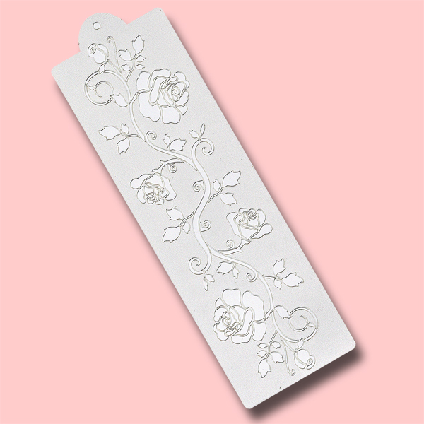Long Rose Row - Bakery Decorating Stencil - Rectangle 12