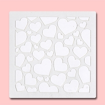 Seamless Hearts -  Bakery Decorating Stencil - Square 5.5