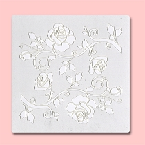 Roses - Bakery Decorating Stencil - Square 5.5