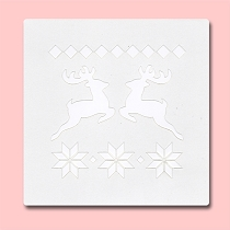 Jumping Reindeer - Bakery Decorating Stencil - Square 5.5