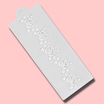 Rose Bud Row - Bakery Decorating Stencil - Rectangle 9.5