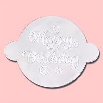 Happy Birthday Round Cake - Bakery Decorating Stencil - Circle 11