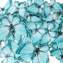 Teal Edible Wafer Paper Butterfly