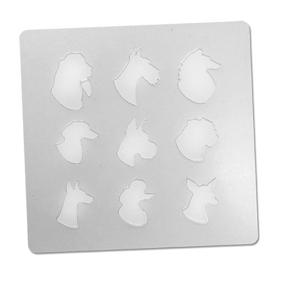 Dog Head Silhouettes - Bakery Decorating Stencil - Square 5.5