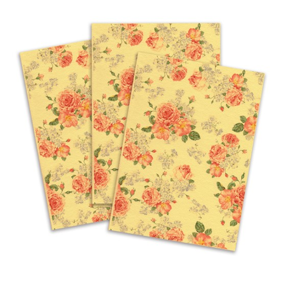 Orange Printed Edible Wafer Paper - Flower Pattern