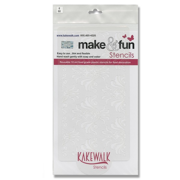 Damask- Bakery decorating stencil - Rectangle 11