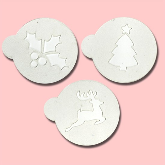 Christmas Deer, Tree & Mistletoe - Bakery Decorating Stencils - 2.6