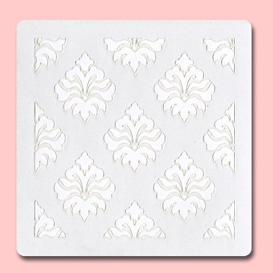 Damask Pattern -  Bakery Decorating Stencil - Square 5.5