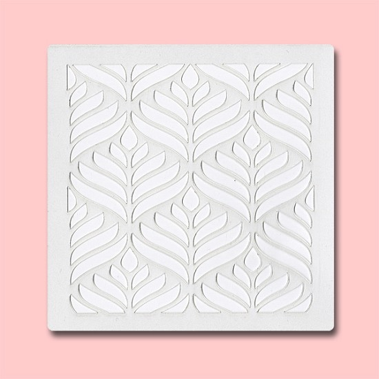 Leaf Abstract - Bakery Decorating Stencil - Square 5.5