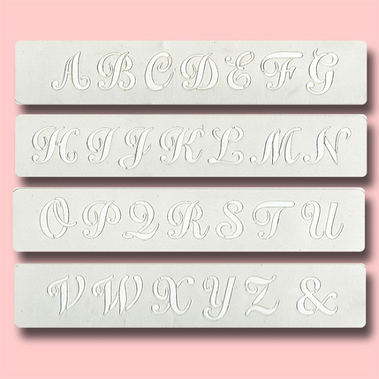 Caps Script - Bakery Decorating Stencil - Rectangle 9.5