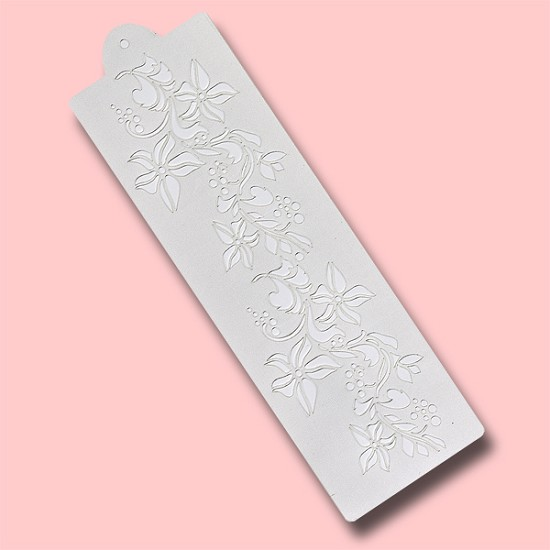 Wild Flower Row - Bakery Decorating Stencil - Rectangle 12